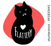 flattery cat. vector hand drawn ... | Shutterstock .eps vector #491833441