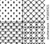 set of skulls seamless pattern   Shutterstock .eps vector #491834521