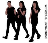 three happy women walking in... | Shutterstock .eps vector #491836825