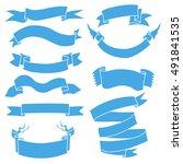 vector set of blue ribbons for... | Shutterstock .eps vector #491841535