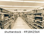 blurred image of supermarket... | Shutterstock . vector #491842564