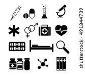 medicine icons set. silhouette... | Shutterstock . vector #491844739