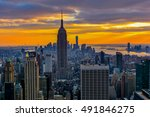 new york city skyline with... | Shutterstock . vector #491846275
