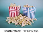 bucket of popcorn against a... | Shutterstock . vector #491849551