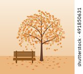 Bench Under Autumn Tree With...
