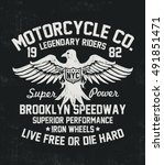 motorcycle typography with... | Shutterstock .eps vector #491851471