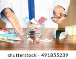 pills and medicinal products... | Shutterstock . vector #491855239