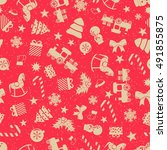 seamless christmas pattern at...   Shutterstock .eps vector #491855875