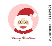 merry christmas card with santa ... | Shutterstock .eps vector #491869801