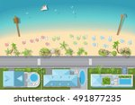 map of the beach with houses ... | Shutterstock .eps vector #491877235
