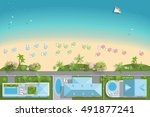 map of the beach with houses ... | Shutterstock .eps vector #491877241
