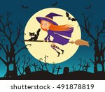 halloween holiday. cute little... | Shutterstock .eps vector #491878819