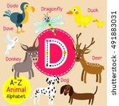 cute children zoo alphabet d... | Shutterstock .eps vector #491883031