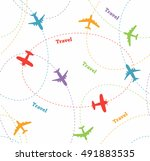 colored planes kids pattern... | Shutterstock .eps vector #491883535