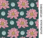 botanical lotus flower seamless ... | Shutterstock .eps vector #491883841