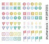 set of pale number icons  ... | Shutterstock .eps vector #491892001