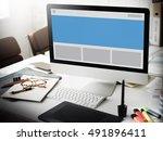 template badge layout mock up...   Shutterstock . vector #491896411
