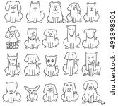 vector set of dog | Shutterstock .eps vector #491898301