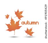 watercolor autumn foliage... | Shutterstock .eps vector #491905429