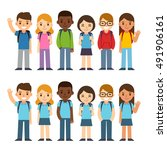 set of diverse children with... | Shutterstock . vector #491906161