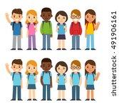 set of diverse children with... | Shutterstock . vector #491906161