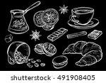 doodle set of coffee drawings ... | Shutterstock .eps vector #491908405