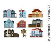 houses front view vector... | Shutterstock .eps vector #491908777