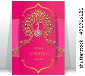 wedding invitation or card with ...   Shutterstock .eps vector #491916121