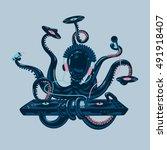 octopus dj with vinyl disc and... | Shutterstock .eps vector #491918407