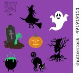 halloween decor set. witch ... | Shutterstock .eps vector #491919151