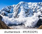 Small photo of Power of nature. Real huge avalanche comes from a big mountain, Shkhara, 5.193 m, Caucasus, Kabardino-Balkaria, Bezengi region, Russia
