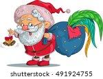 vector. funny cartoon. santa... | Shutterstock .eps vector #491924755