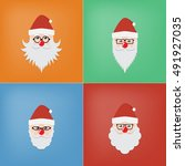 the head of santa claus in four ... | Shutterstock .eps vector #491927035