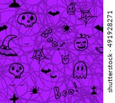 halloween seamless pattern.... | Shutterstock .eps vector #491928271