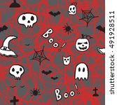 halloween seamless pattern.... | Shutterstock .eps vector #491928511