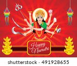 abstract artistic red durga... | Shutterstock .eps vector #491928655