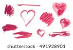 a set of hearts  lines and... | Shutterstock . vector #491928901