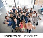 Stock photo portrait of thumb up smiling business people 491941591