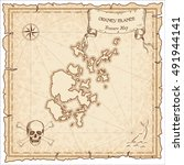 orkney islands old pirate map.... | Shutterstock .eps vector #491944141