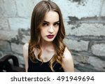 attractive fashion woman in... | Shutterstock . vector #491949694