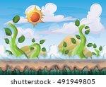 cartoon vector nature landscape ... | Shutterstock .eps vector #491949805