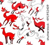 beautiful red and white deers... | Shutterstock .eps vector #491952409