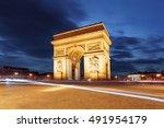 arc de triomphe and light... | Shutterstock . vector #491954179