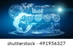 digital datas on hologram... | Shutterstock . vector #491956327