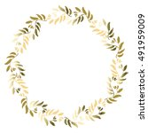 floral gold circle frame for... | Shutterstock .eps vector #491959009