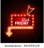 black friday sale retro light...   Shutterstock .eps vector #491959129