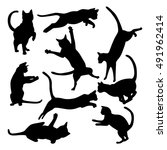 collection of cats silhouettes... | Shutterstock .eps vector #491962414