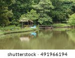 green place in the train park... | Shutterstock . vector #491966194