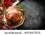 Roasted Sliced Christmas Ham O...