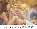 beautiful stylish friends are... | Shutterstock . vector #491969035